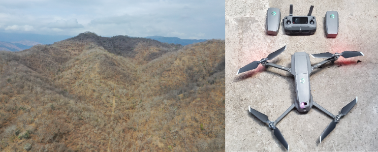 Aerial photo taken by Drone of the fire break line delimiting the southern limit of Heloderma Natural Reserve. On the right the Mavic 2 Pro Drone used for the aerial surveillance. Photos Daniel Ariano