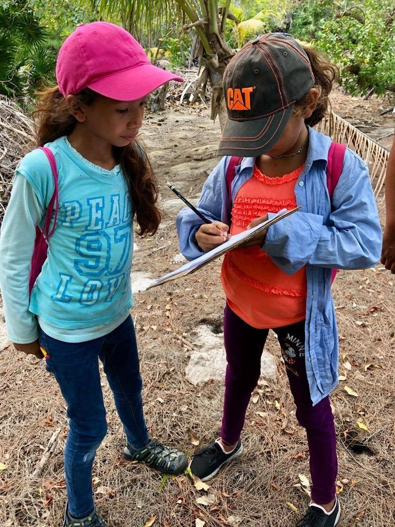 School of Nature students Kelly and Silvia take data on Iguana survey – Daniela Sansur